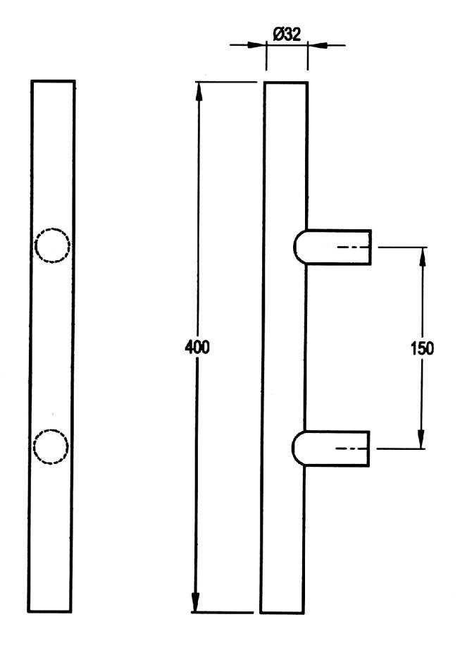 5205/5002 - Stainless Steel Pull Handle Straight Post Fixing
